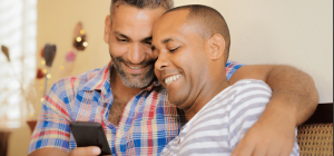 2 men happy about their HIV test results